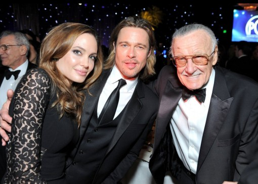 (from left) Angelina Jolie, Brad Pitt and Stan Lee