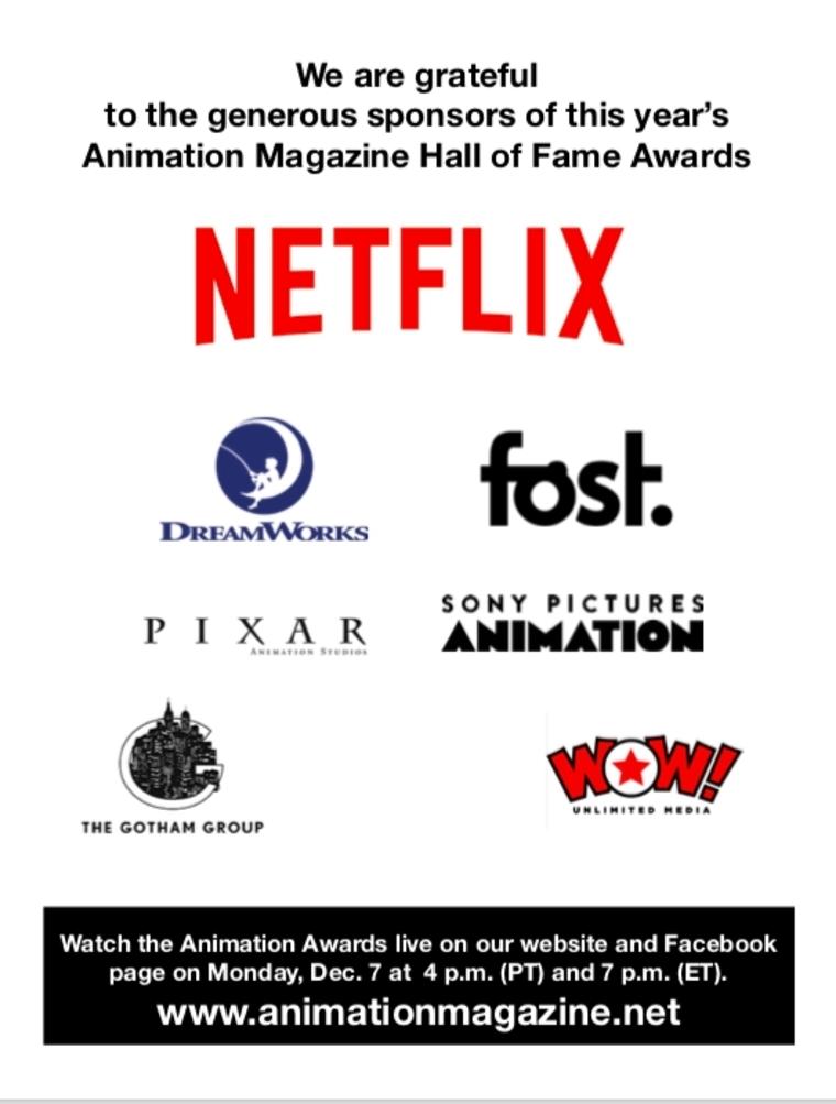 Animation Magazine 2020 Awards Sponsors