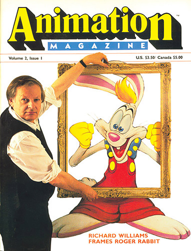 Richard Williams and Roger Rabbit on the cover of Animation Magazine Vol 2 Issue 1