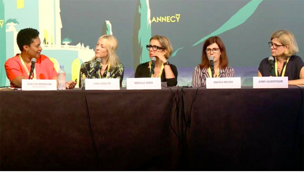 From left: WIA Summit speakers Fox Family's Vanessa Morrison, Passion Animation Studios' Cara Speller, Paramount Animation's Mireille Soria, Fox Animation's Andrea Miloro and Swedish Film Institute's Jenny Gilbertsson