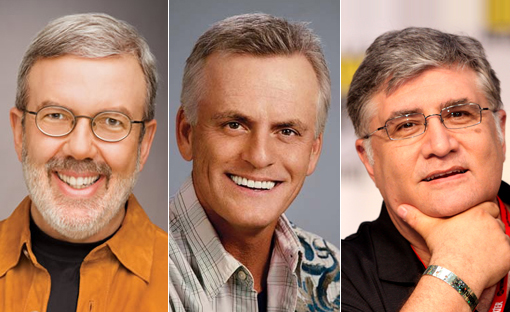 (from left) Leonard Maltin, Rob Paulsen and Maurice LaMarche