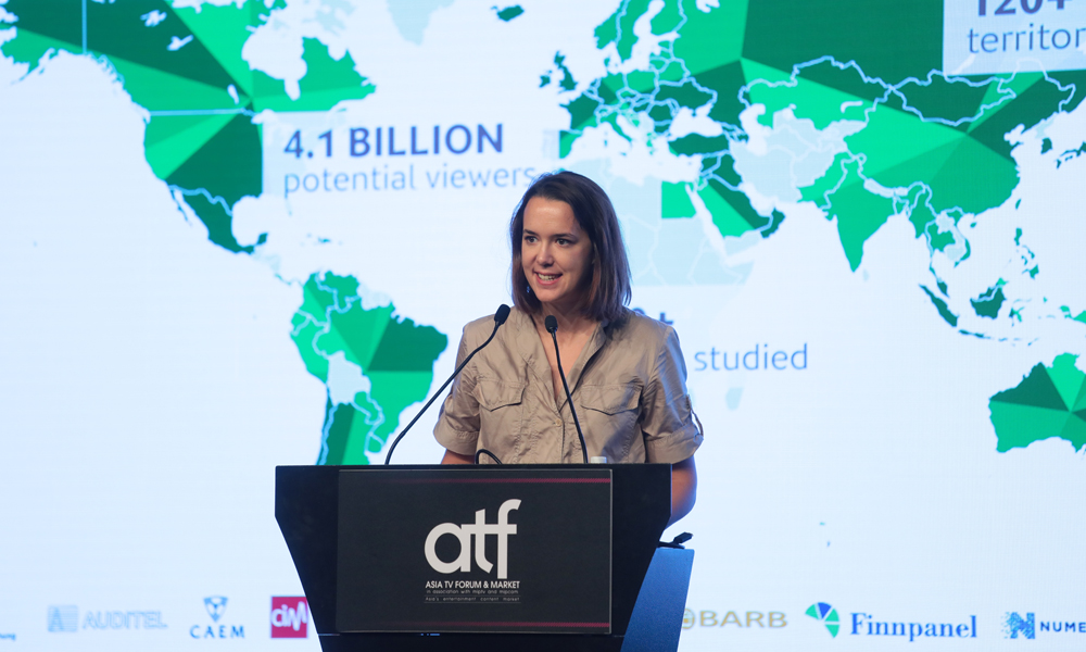 Avril Blondelot, Head of Content Insight, Eurodata TV Worldwide, addresses the Asian Animation Across the Globe session