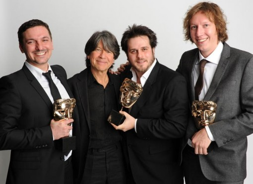 Writer winner: The Amazing World of Gumball  Presenter Anthony Browne with the winning Gumball writers: Ben Bocquelet, James Lamont and Jon Foster.
