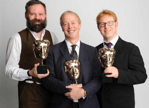 Pre-School Animation winner: Peppa Pig  The winning team behind Peppa Pig: Joris van Hulzen, Phil Davies and Philip Hall.