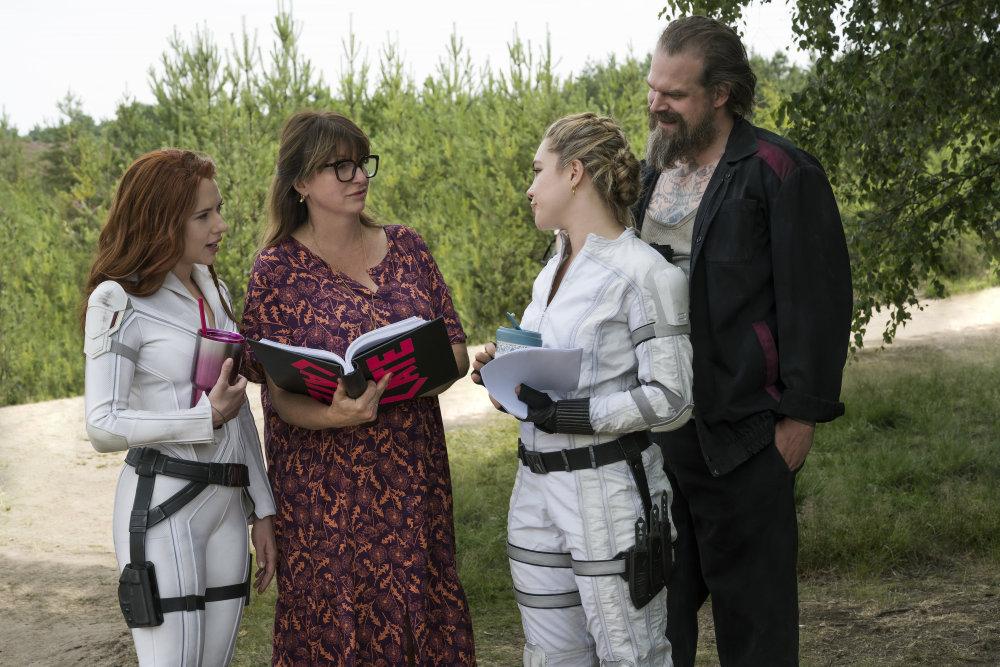 L-R: Scarlett Johansson, director Cate Shortland, Florence Pugh and David Harbour on set of Marvel's Black Widow.