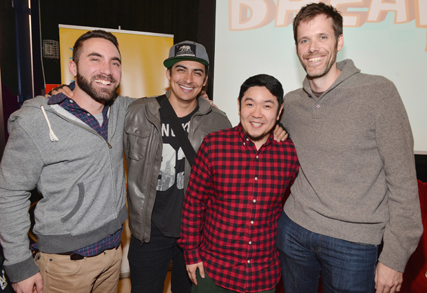 "LOS ANGELES, CA - FEBRUARY 04:  Pictured: Steve Borst and Gary ""Doodles"" Di Raffaele (in grey sweatshirt), creators and producers of BREADWINNERS with (second frm left) Robbie Daymond, the voice of SwaySway and Eric Bauza (plaid shirt), the voice of Buhdeuce  at the BREADWINNERS Screening on February 4, 2014 in Los Angeles, California.  (Photo by Alberto E. Rodriguez/Getty Images)"