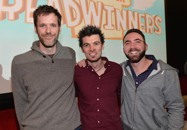 "LOS ANGELES, CA - FEBRUARY 04:  Pictured: Steve Borst and Gary ""Doodles"" Di Raffaele (in grey sweatshirt), creators and producers of BREADWINNERS, with (center) Tommy Sica, music composer at the BREADWINNERS Screening on February 4, 2014 in Los Angeles, California.  (Photo by Alberto E. Rodriguez/Getty Images)"