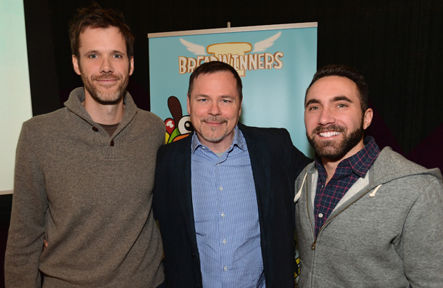 "LOS ANGELES, CA - FEBRUARY 04:  Pictured: Steve Borst and Gary ""Doodles"" Di Raffaele (in grey sweatshirt), creators and producers of BREADWINNERS, Russell Hicks, (center) President, Content Development and Production,at the BREADWINNERS Screening on February 4, 2014 in Los Angeles, California.  (Photo by Alberto E. Rodriguez/Getty Images)"