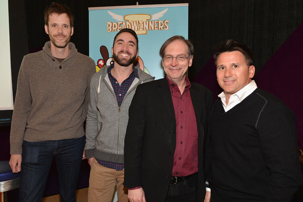 "LOS ANGELES, CA - FEBRUARY 04:  Pictured: Steve Borst and Gary ""Doodles"" Di Raffaele (in grey sweatshirt), creators and producers of BREADWINNERS, Jerry Beck and  Rich Magallanes, SVP, Nickelodeon Animation, Current Series at the BREADWINNERS Screening on February 4, 2014 in Los Angeles, California.  (Photo by Alberto E. Rodriguez/Getty Images)"