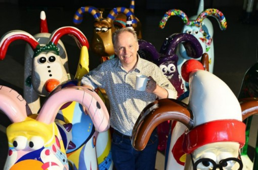 Wallace and Gromit creator Nick Park with Gromit sculptures.