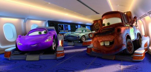 """CARS 2"" (L-R) Holley Shiftwell (voice by Emily Mortimer), Finn McMissile (voice by Michael Caine), Mater (voice by Larry the Cable Guy) ©Disney/Pixar.  All Rights Reserved."
