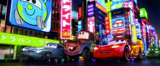 """CARS 2"" (L-R) Finn McMissile (voice by Michael Caine), Mater (voice by Larry the Cable Guy), Lightning McQueen (voice by Owen Wilson) ©Disney/Pixar.  All Rights Reserved."