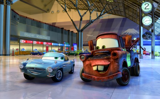"""CARS 2"" (L-R) Finn McMissile (voice by Michael Caine), Mater (voice by Larry the Cable Guy) ©Disney/Pixar.  All Rights Reserved."