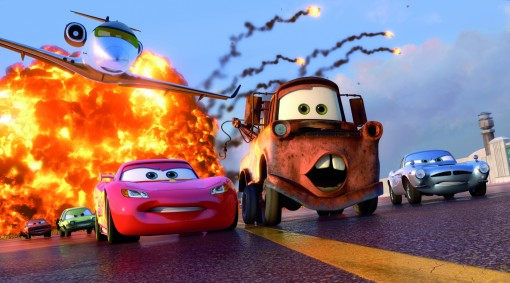 """CARS 2"" (L-R) Grem (voice by Joe Mantegna), Acer (voice by Peter Jacobson), Siddeley (voice by Jason Isaacs), Lightning McQueen (voice by Owen Wilson), Mater (voice by Larry the Cable Guy), Finn McMissile (voice by Michael Caine). ©Disney/Pixar. All Rights Reserved."