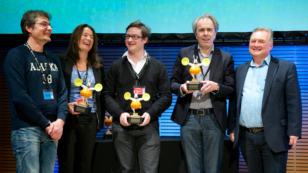 (from left) Florent Mounier (2d3D Animations, co-producer of Minuscule), Laurence Marty (Futurikon), Jean-Baptiste Davi (Le Pacte) & Eric Goossens (Walking The Dog)