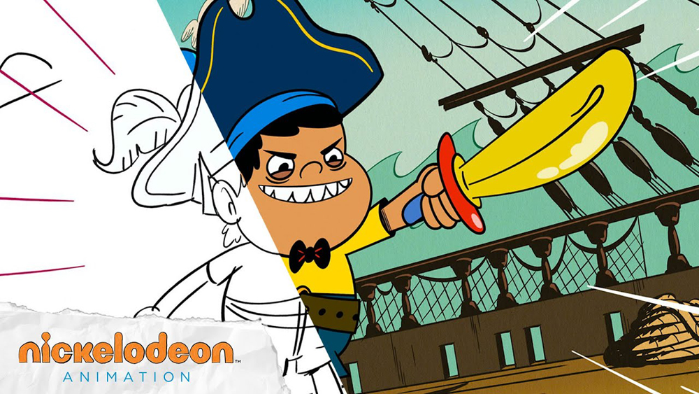 "Side-by-side from The Casagrandes ""Arrr in the Family"" with storyboard by Diem Doan, one of the panelists in MIFA Campus ""From Sketch to Screen: The Making of a Show with Nickelodeon Artists"" [© Nickelodeon Animation]"