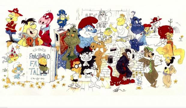 """Characters"": Illustration of Saturday morning characters by Gerard Baldwin."
