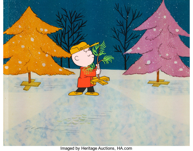 Charlie Brown and Christmas Tree Production Cel