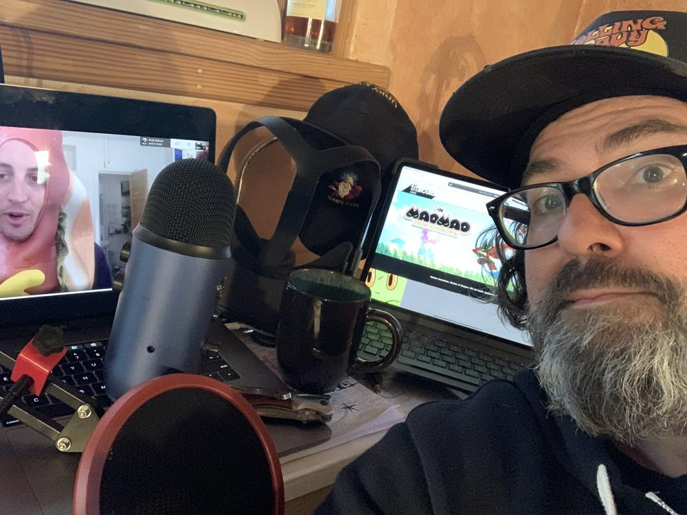 Chris Prynoski has a video call with Chris Allison, a storyboard artist, while working from his home.