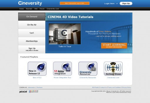 Maxon's Cineversity training website