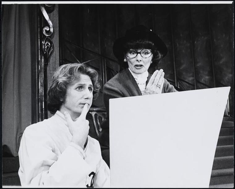 "René Auberjonois as Sebastian Baye and Katherine Hepburn as Coco Chanel in Broadway's ""Coco"", 1969. © The New York Public Library"