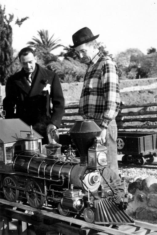 (from left) Salvador Dali and Walt Disney