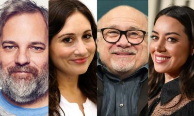 Dan Harmon, Lucy DeVito, Danny DeVito, and Aubrey Plaza