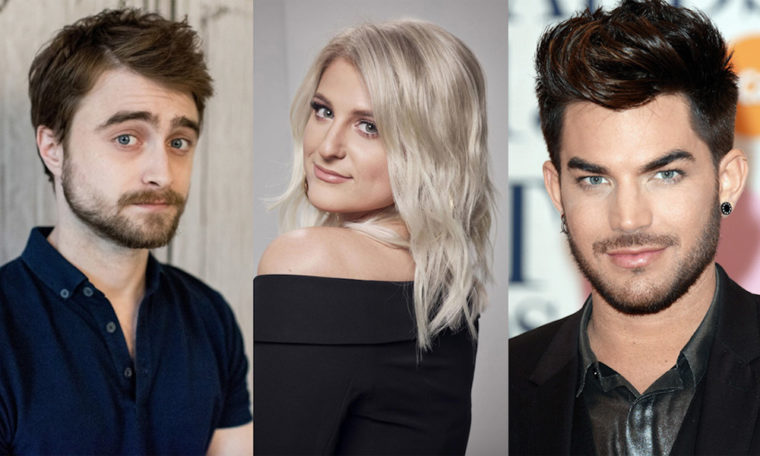 Daniel Radcliffe, Meghan Trainor and Adam Lambert