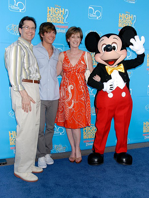 Gary Marsh (left) with Zac Efron and Anne Sweeney and Mickey at the premiere of High School Musical 2 in 2007.