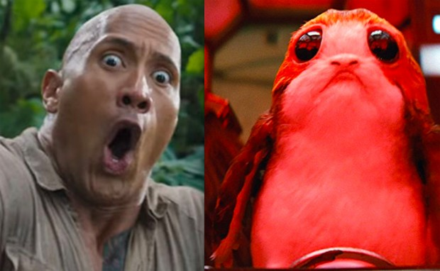 Dwayne Johnson and a Porg