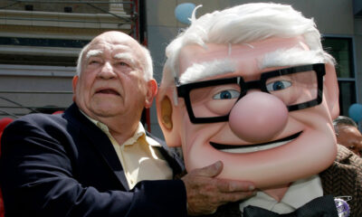 Ed Asner with his character, Carl, at the premiere of Pixar's Up in 2009