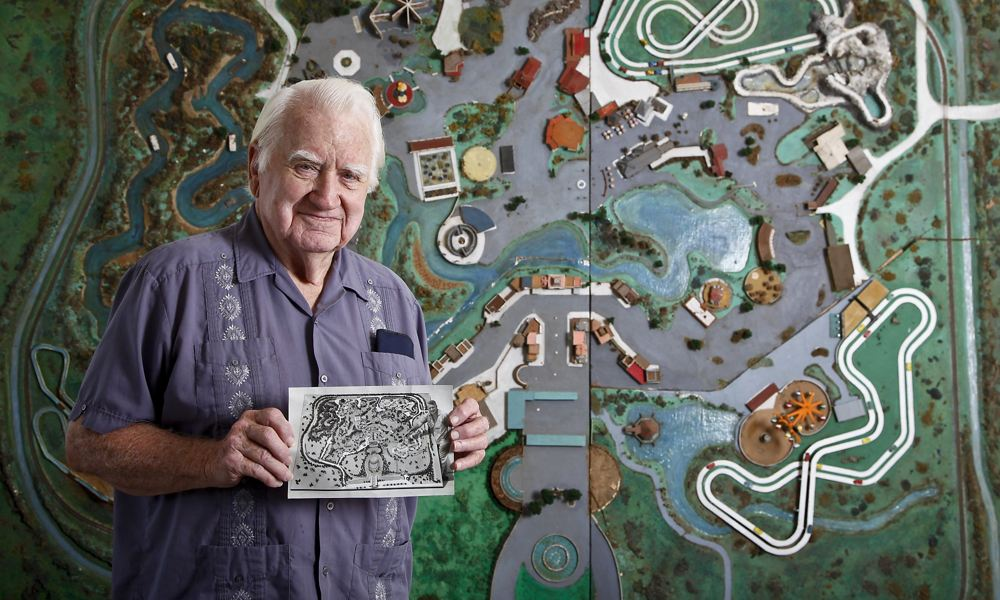 Ed Henderson with his original 1967 AstroWorld model, 2011. [Photo: Michael Paulsen/Houston Chronicle]