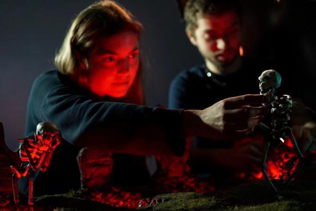 """Sofia Astrom and Tony Candelaria on set of Eels """"Bone Dry."""" Photo by Cassandra Church."""