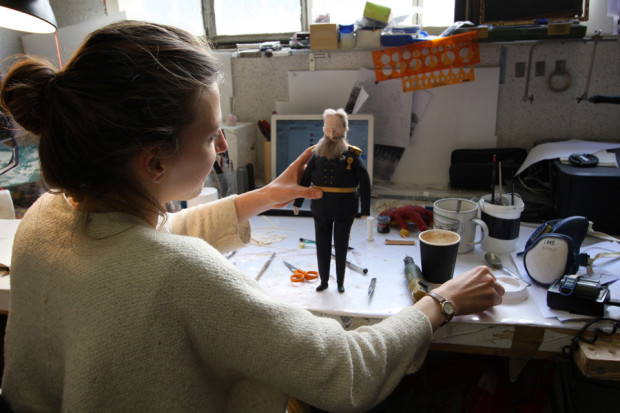 Emma de Swaef working on the King puppet for This Magnificent Cake!