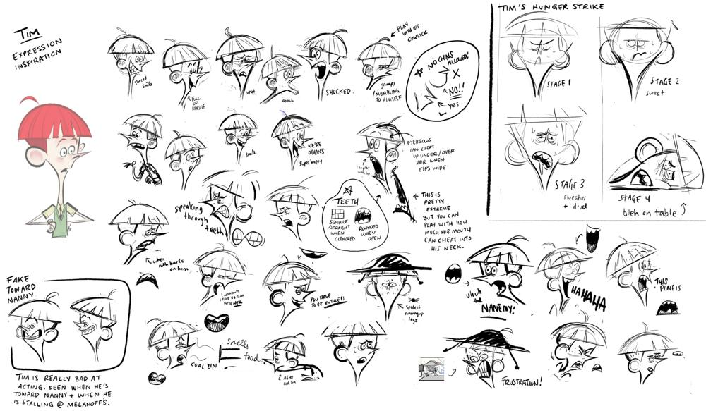 Expression sheet for Tim Willoughby
