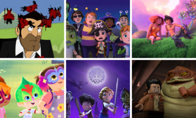 Clockwise from top left: Lucifer S6, Sharkdog's Fantastic Halloween, The Croods: Family Tree, LEGO Star Wars Terrifying Tales, A Tale Dark & Grimm, Little Ellen