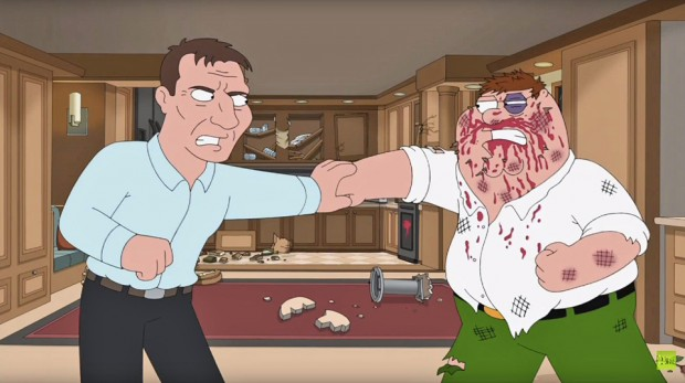 Liam Neeson brawls with Peter in Family Guy's 250th episode