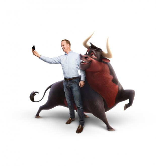 Former NFL quarterback Peyton Manning voices Guapo the bull