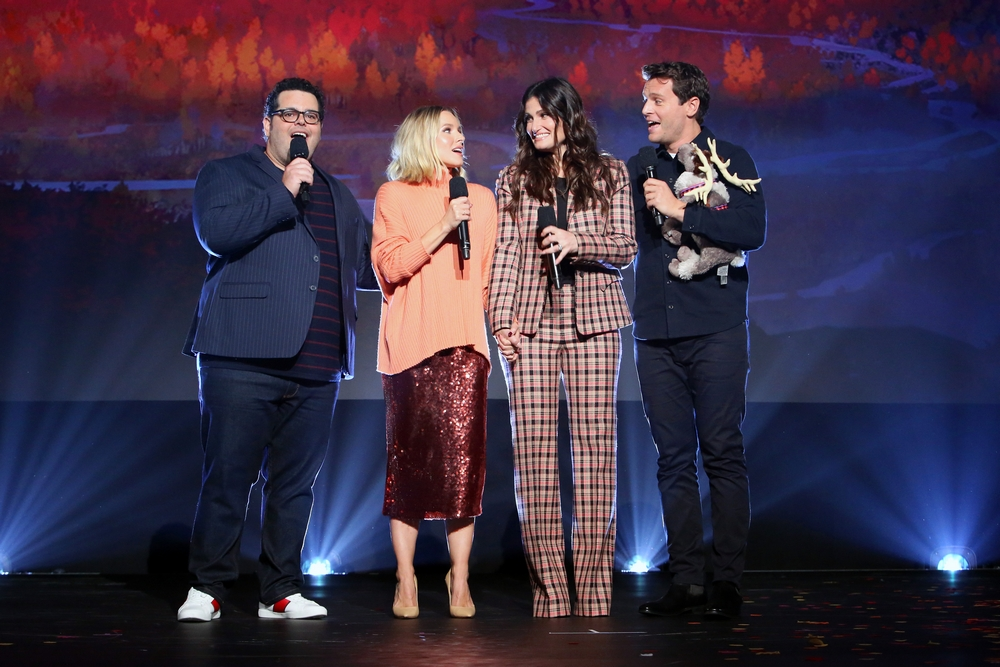 (L-R) Josh Gad, Kristen Bell, Idina Menzel and Jonathan Groff of 'Frozen 2' at D23 EXPO 2019. (Photo by Jesse Grant/Getty Images for Disney)