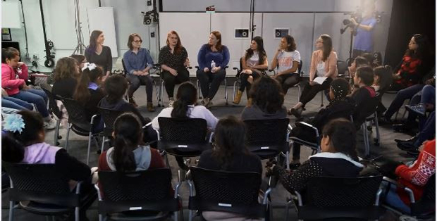 Girls Inc. kids meet with some of top women team members of Spirit Riding Free at DreamWorks' Glendale studio.