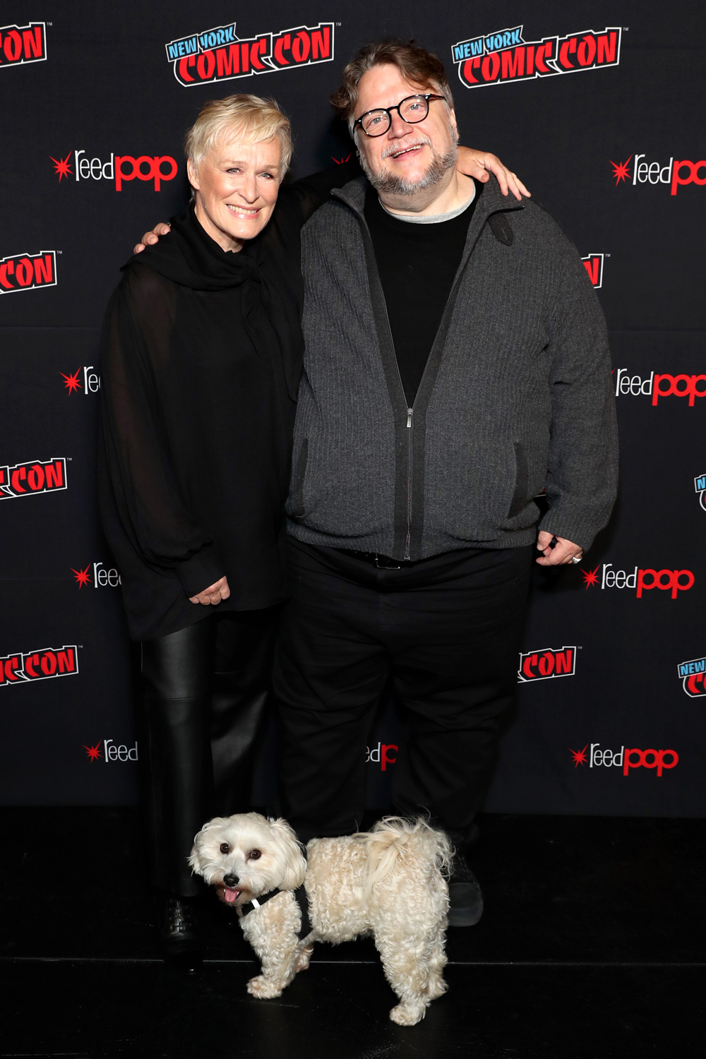 Glenn Close and Guillermo del Toro pose at DreamWorks Tales of Arcadia: 3Below panel during New York Comic Con '18. (Photo: Cindy Ord/Getty Images for DreamWorks Animation Television)