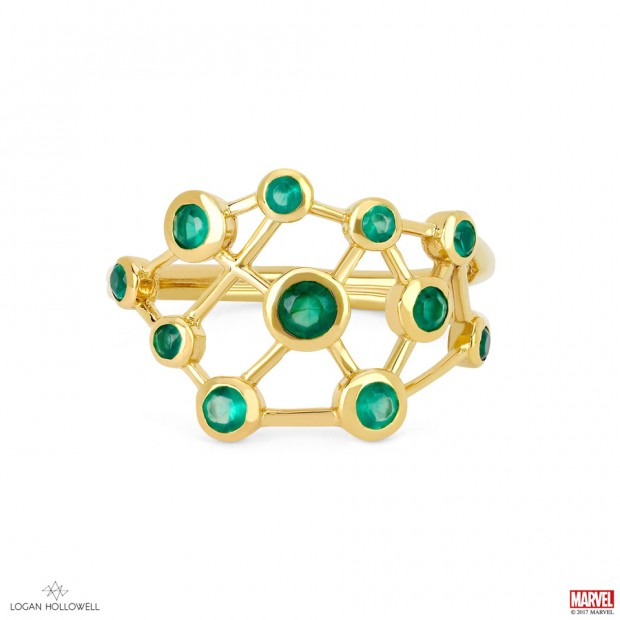 Logan Hollowell Hela Green Agate Constellation Ring