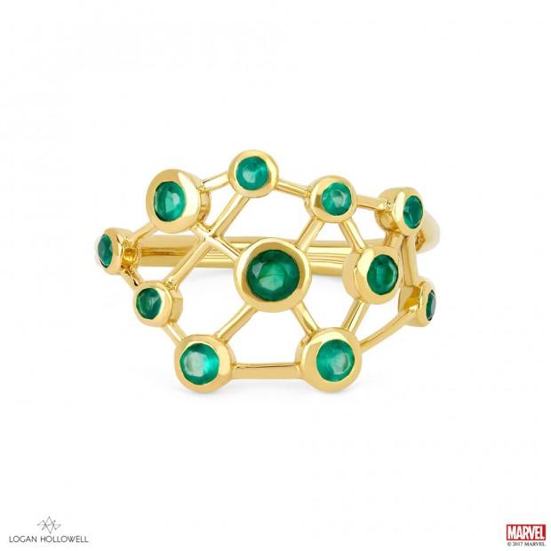 Logan Hollowell Hela Green Agate Constellation Ring
