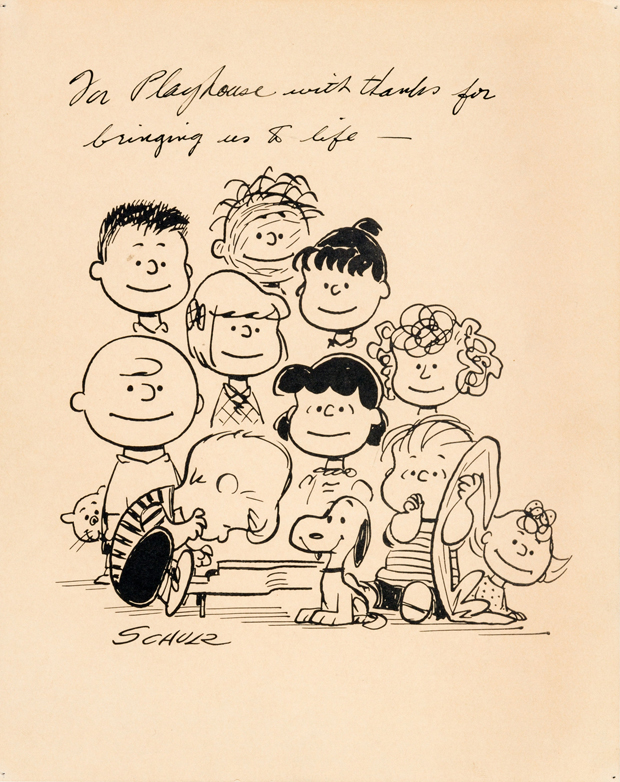 Charlie Brown/Peanuts Ford Falcon-Related Inscribed Print (Playhouse Pictures, 1960).