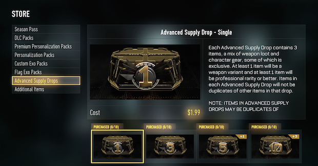 Call of Duty Advanced Supply Drops