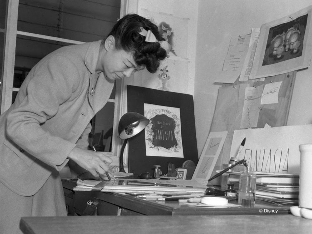 Artist and prolific children's book creator Gyo Fujikawa working on Fantasia (1939).