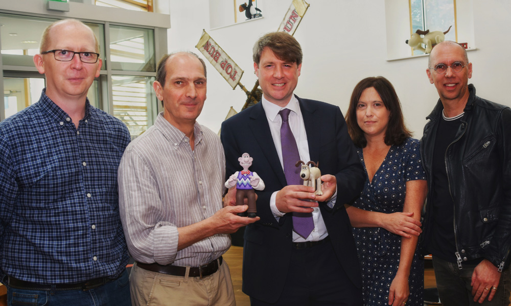 From Left: Jason Veal (MD & Co-Founder, Sugar Creative), David Sproxton (Cofounder of Aardman), Chris Skidmore (Science and Innovation Minister), Susan Cummings (MD, Tiny Rebel Games), Scott Ewing (CEO, Potato)