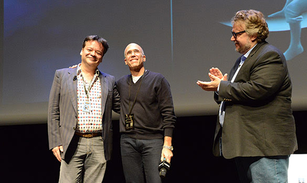 Marcel Jean, Jeffrey Katzenberg and Guillermo del Toro at Annecy 2016
