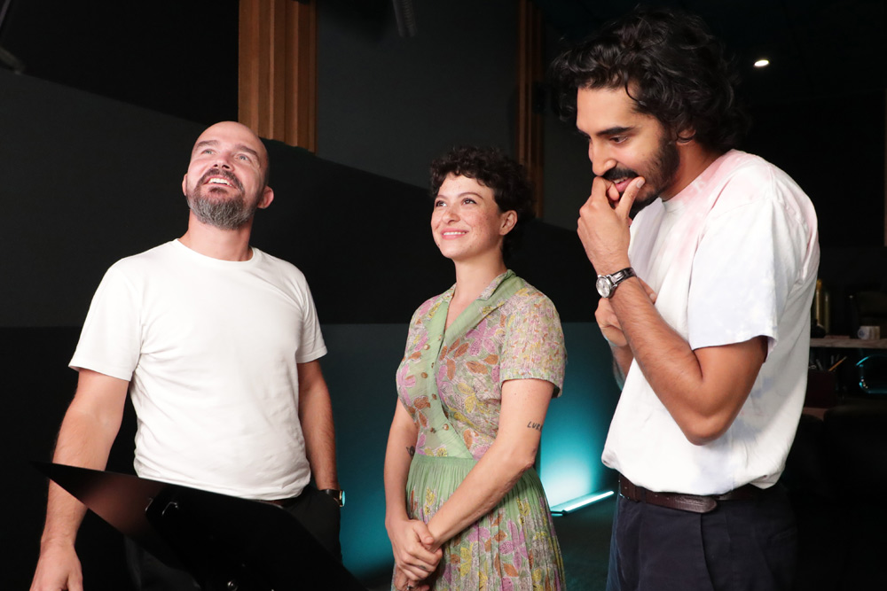 (L-R) Director Jeremy Clapin with stars Alia Shawket and Dev Patel