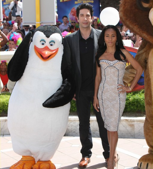 (from left) David Schwimmer, Jada Pinkett Smith of Madagascar 3: Europe's Most Wanted at the 2012 Cannes Film Festival